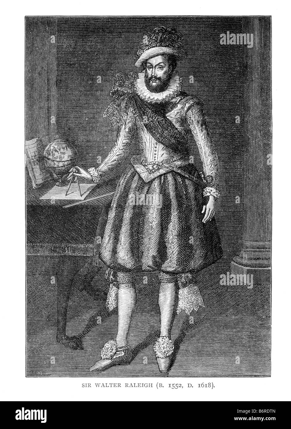 Sir Walter Raleigh 19th Century Illustration - Stock Image