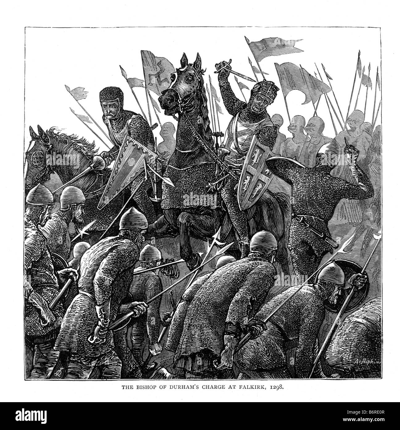 The Bishop of Durham s Charge at Falkirk 1298 19th Century Illustration - Stock Image