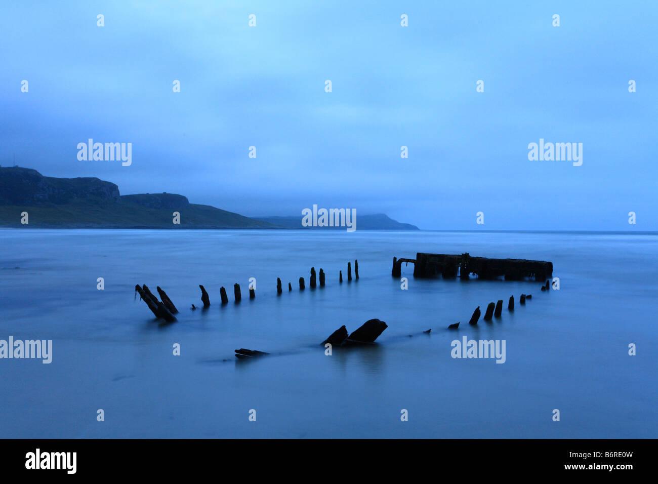 "Partly submerged ship wreak ""Machir Bay"" Kilchoman, ""Isle of Islay"" Inner Hebridies, Scotland Stock Photo"