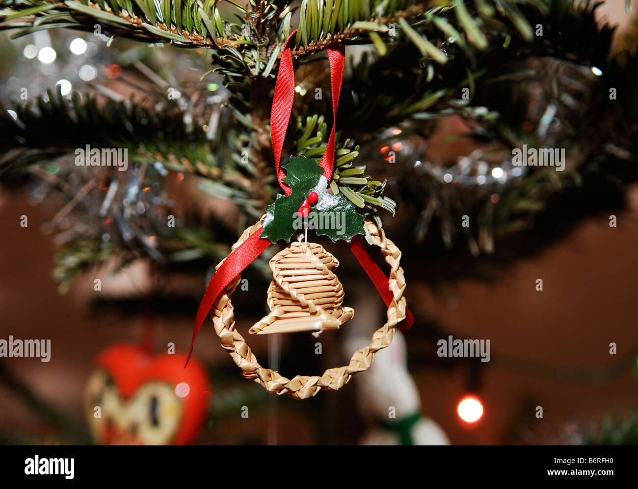Corn Dolly Old Fashioned Christmas Tree Decoration Stock Photo