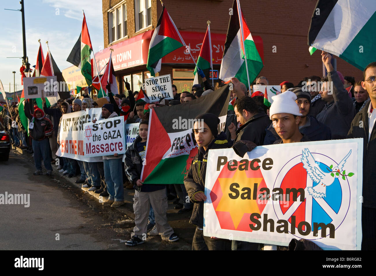 Arab-Americans Protest Israel's Attack on Gaza - Stock Image