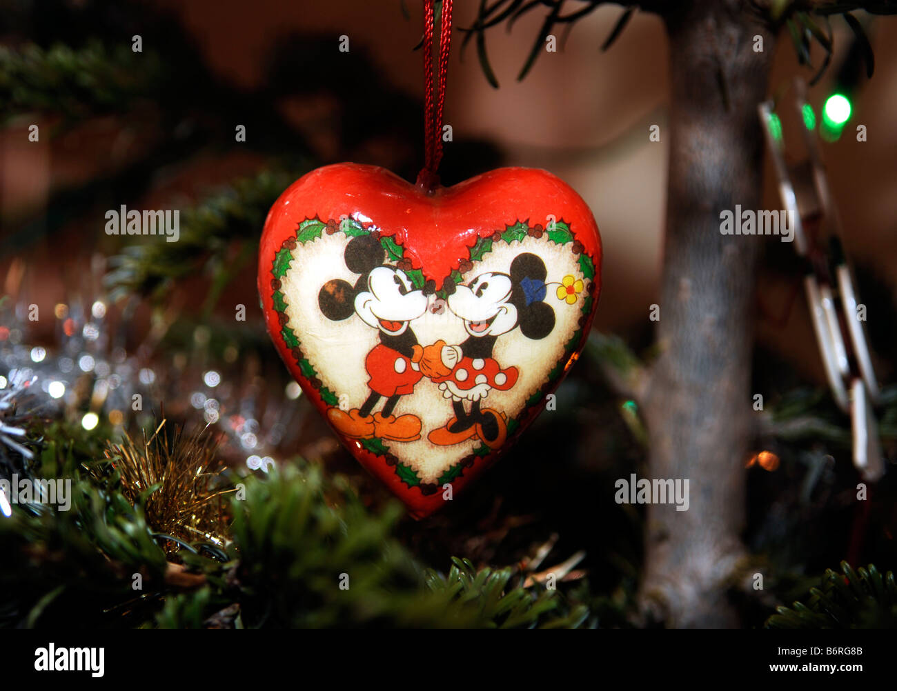 Mickey And Minnie Mouse Christmas Tree Decoration Stock Photo
