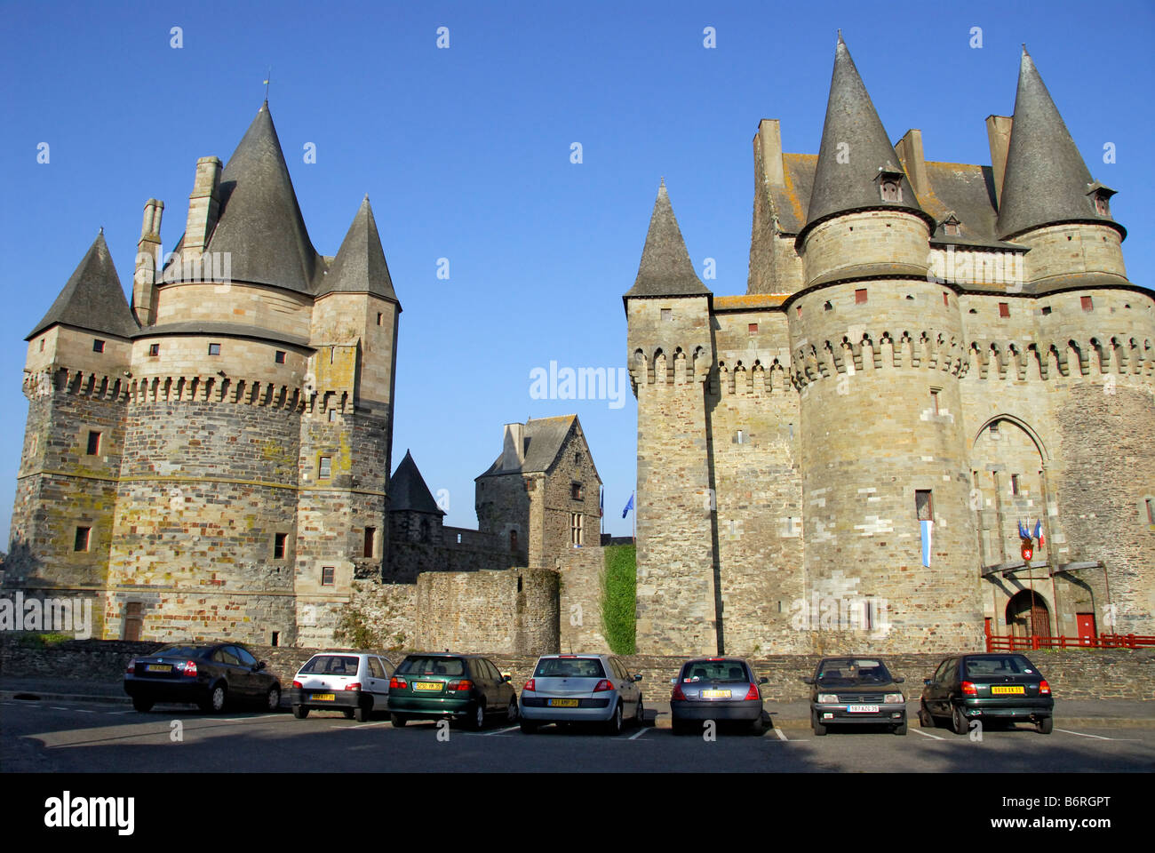 15th century towers and ramparts of chateau Vitré Brittany France - Stock Image