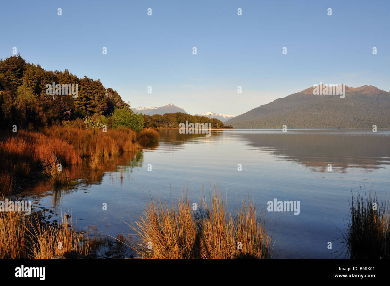 Lake Te Anau, New Zealand on the road to Milford sound - Stock Image
