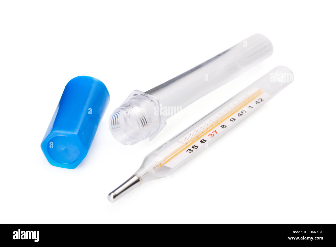 Traditional thermometer to measure body temperature with case - Stock Image