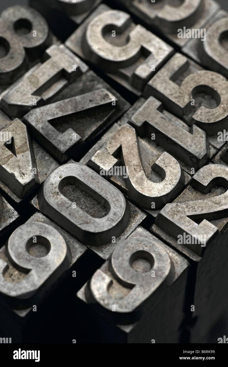vintage printers lead numbers - Stock Image