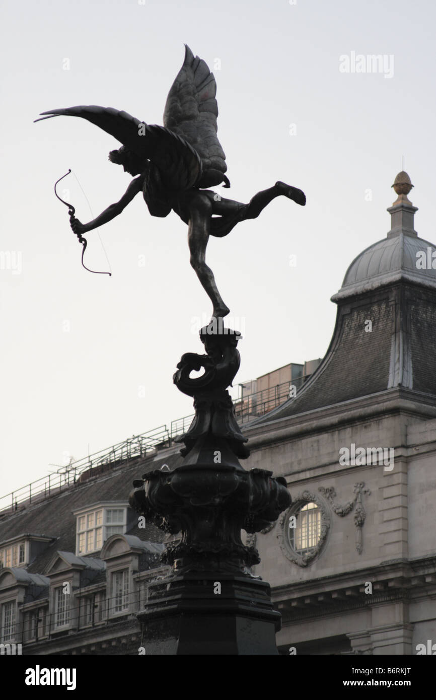 Eros perches atop the Shaftesbury Monument Memorial Fountain, Piccadilly Circus London. - Stock Image