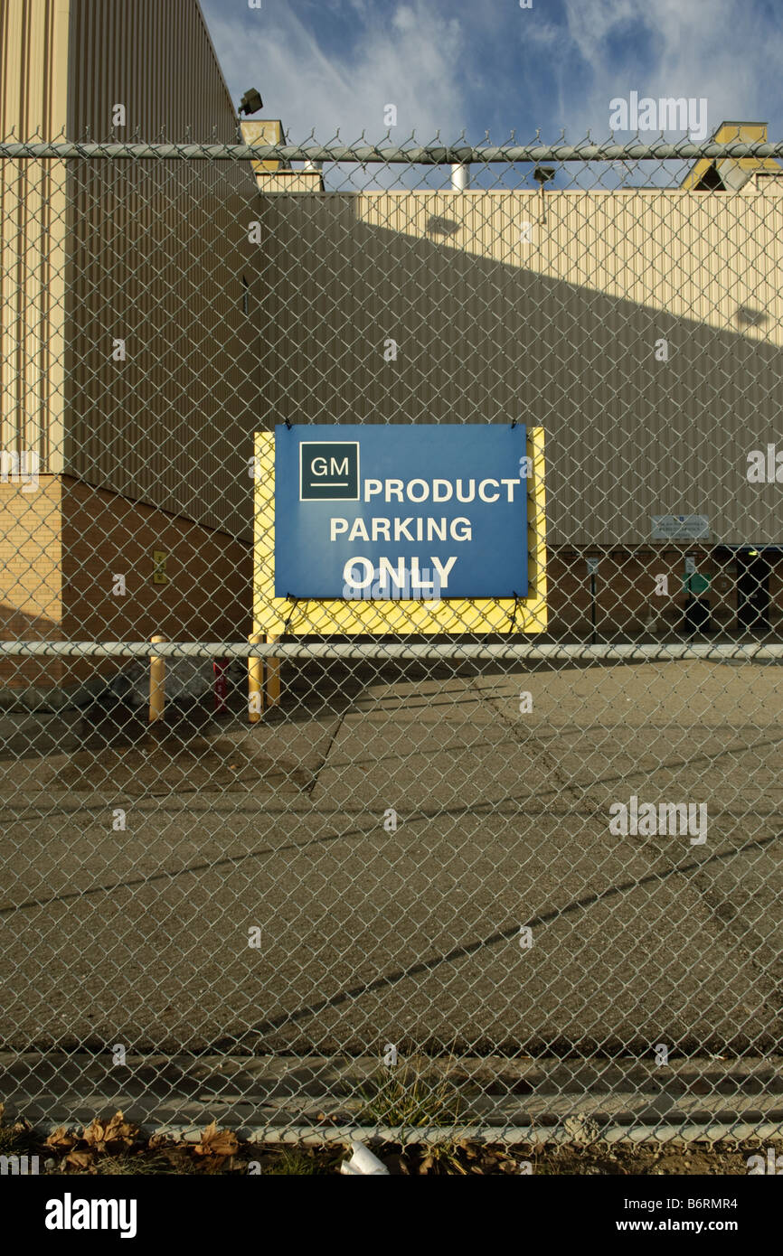 General Motors Flint Assembly factory building with sign saying GM Product Parking Only, in Flint Michigan USA Stock Photo