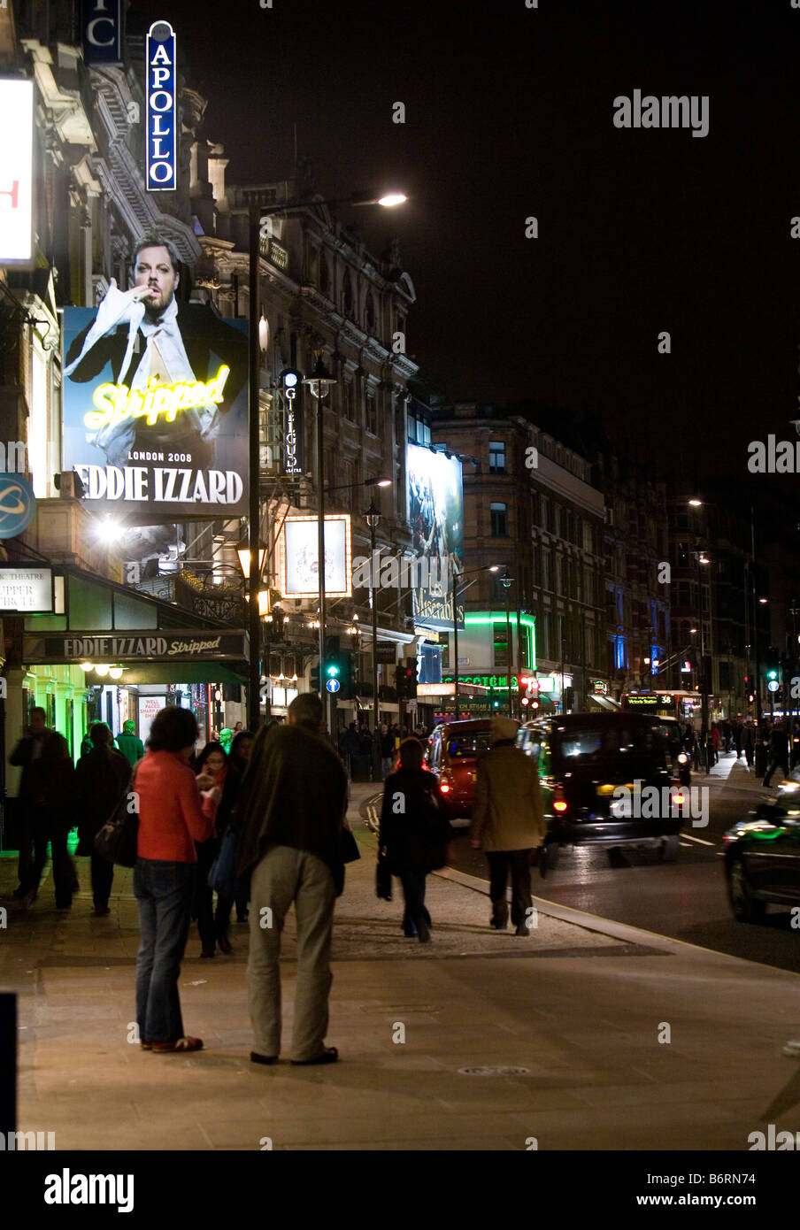 A view along Shaftesbury Avenue London from Picadilly - Stock Image