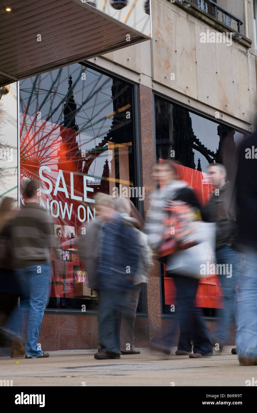 Shoppers in Princes Street for the sales on Boxing Day - Stock Image