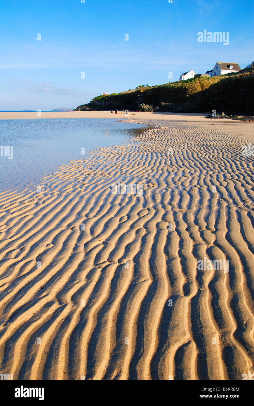 low tide at hayle beach,cornwall,uk - Stock Image