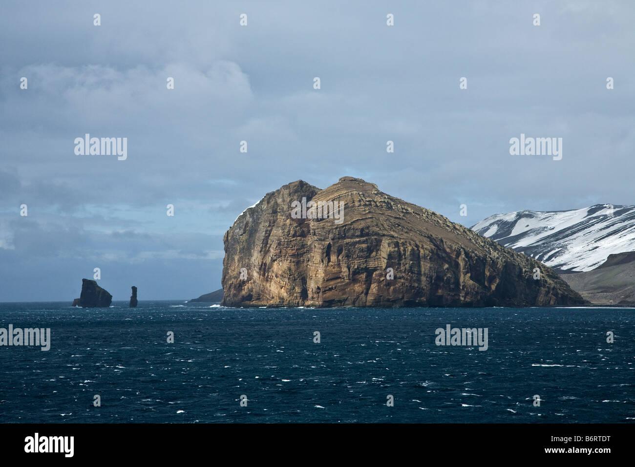 Rock Stacks near Deception Island South Shetland Islands Antarctica - Stock Image