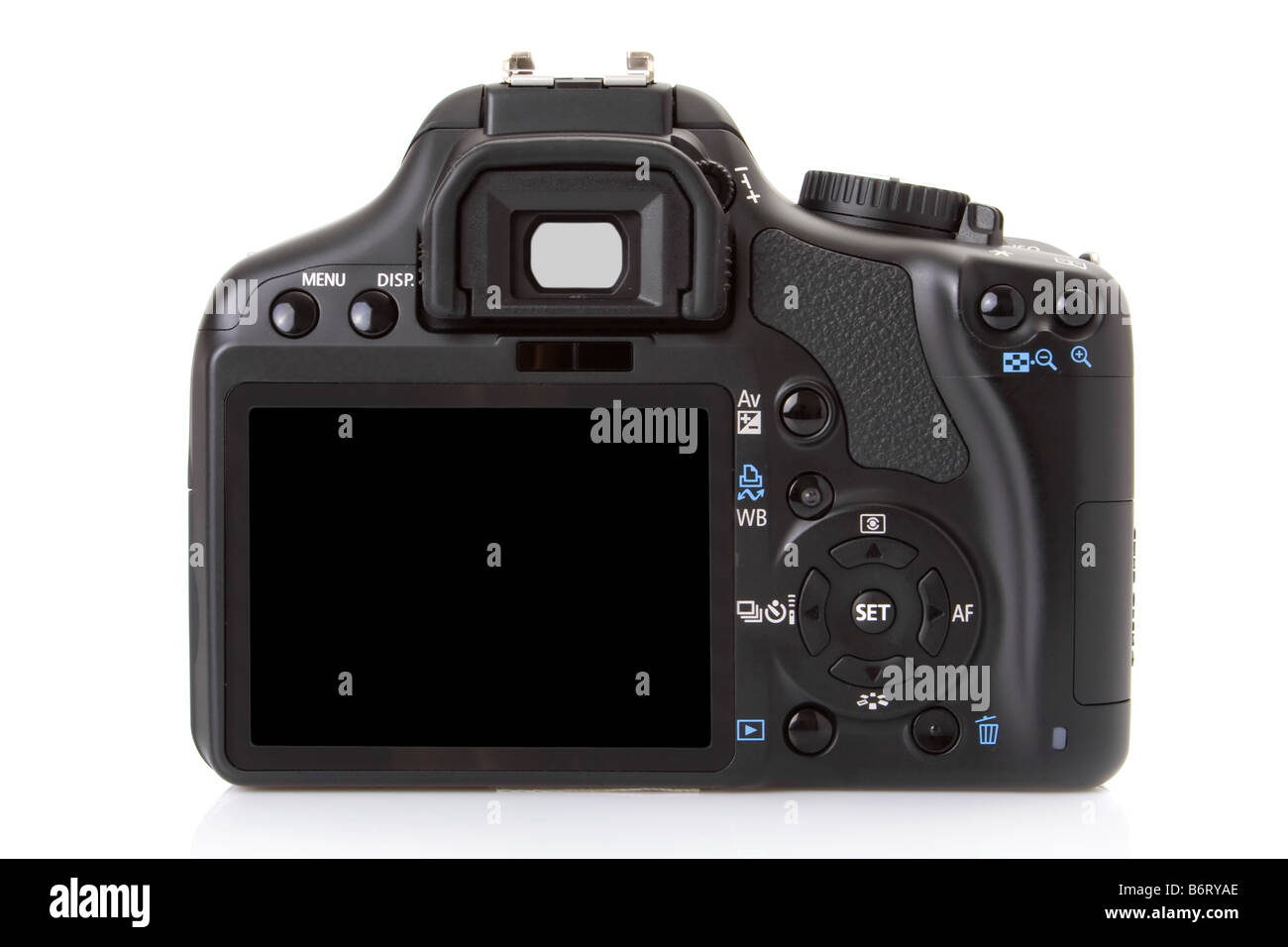 Back of a digital slr isolated on white - Stock Image