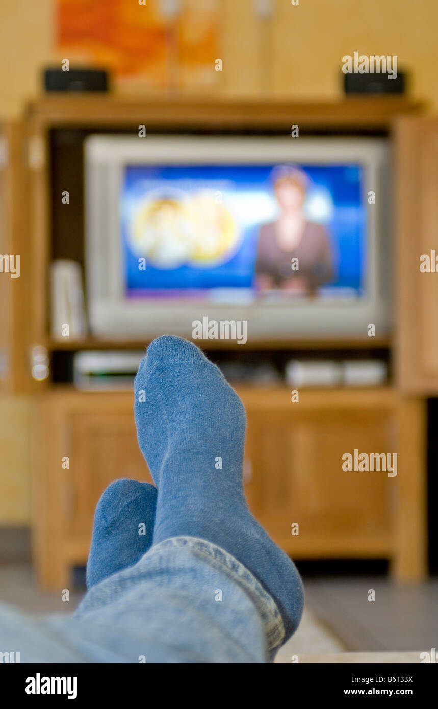 watching television - Stock Image