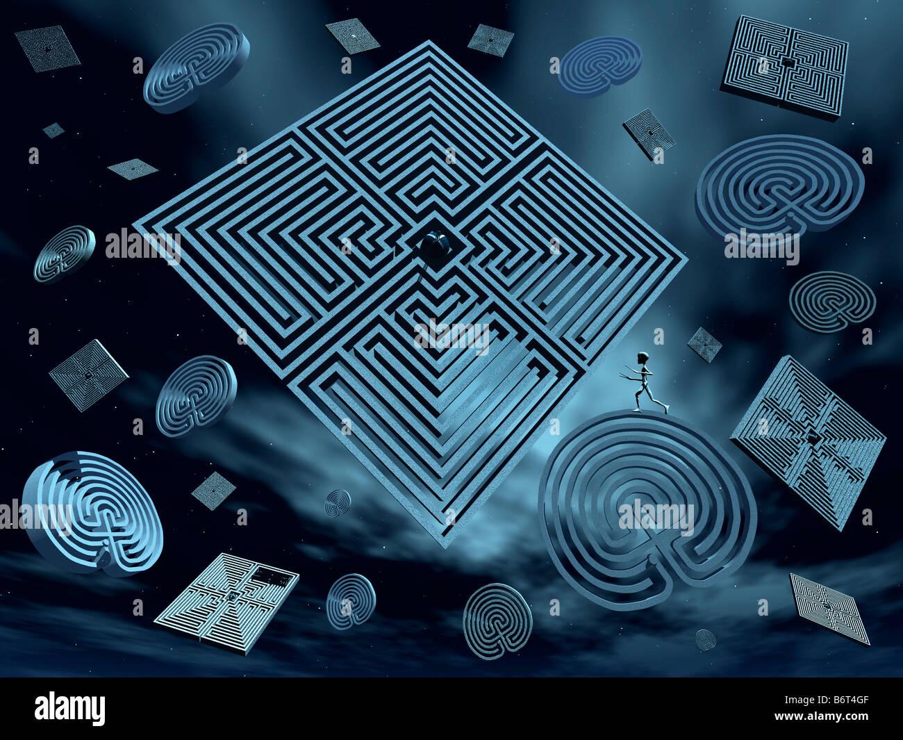 Universal Puzzels A 3D Conceptual Image - Stock Image