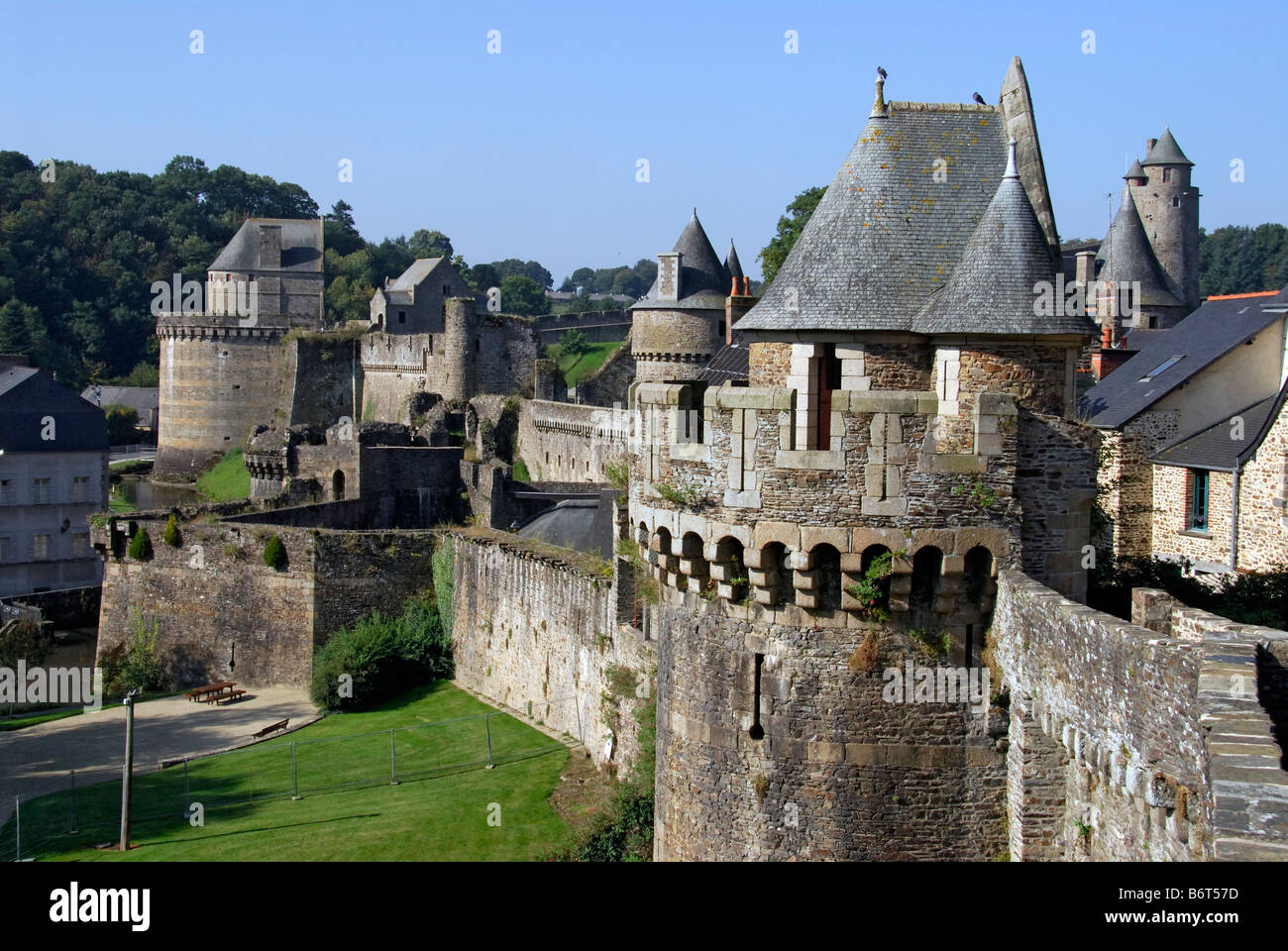 fortified walls surrounding Fougères Chateau Brittany France - Stock Image