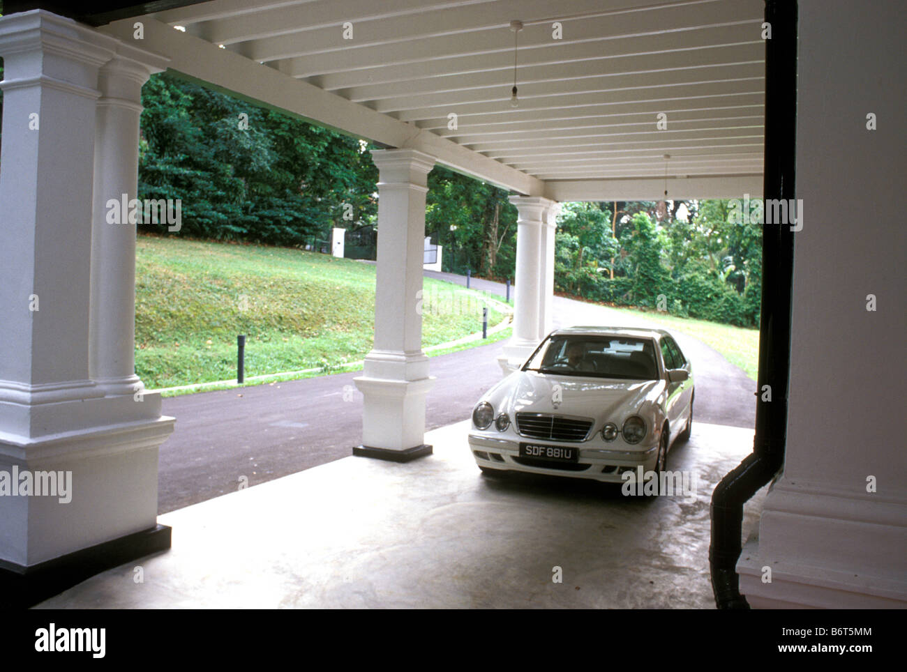 Black white house goodwood hill singapore stock image