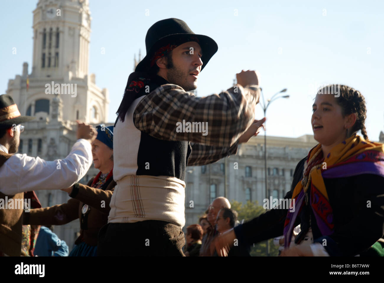 Members of Spain's Roma community hold a parade in Plaza de Cibeles, Madrid, Spain - Stock Image