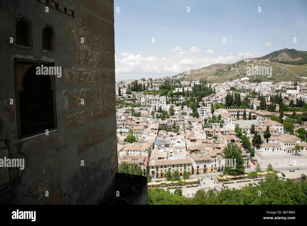 View of the El Albaicín, old Moorish quarter of Granada city, from