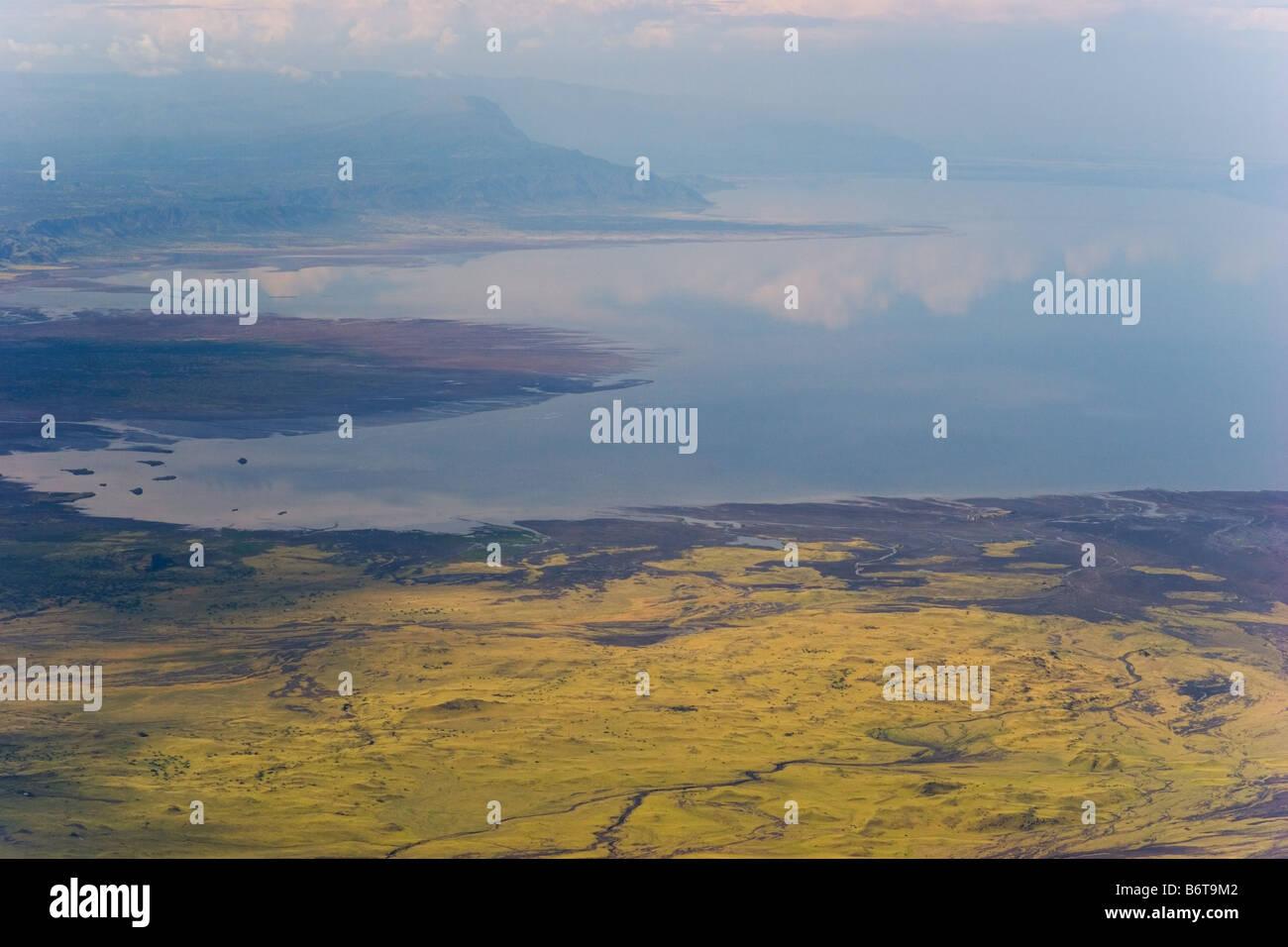 View onto Lake Natron soda lake in the Rift Valley of Tanzania Stock Photo