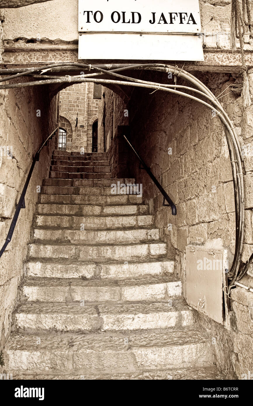 Old stone stairway leading to Old Jaffa, Tel Aviv, Israel - Stock Image