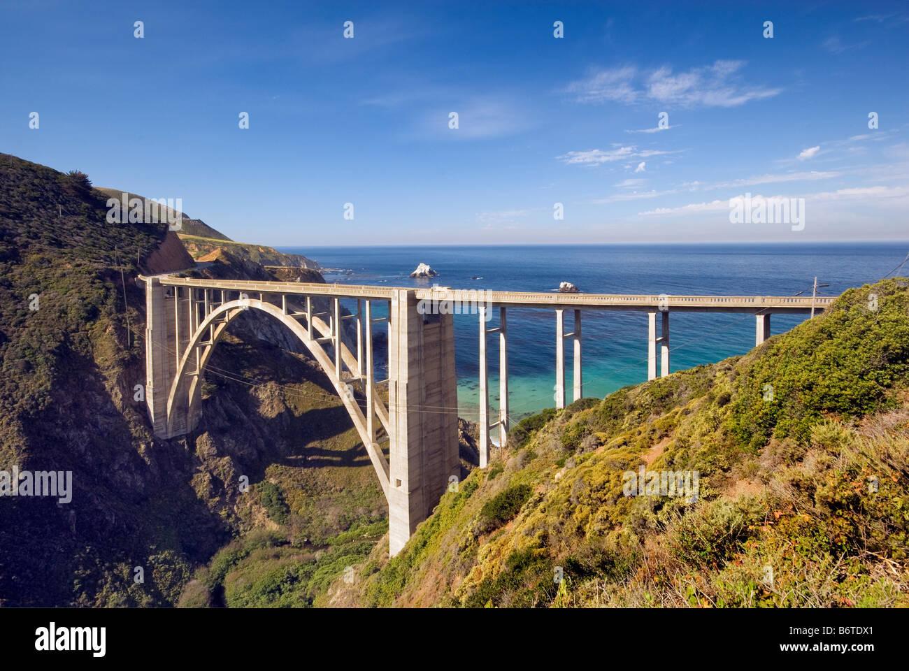 Bixby Creek Bridge on Highway One Big Sur California USA - Stock Image