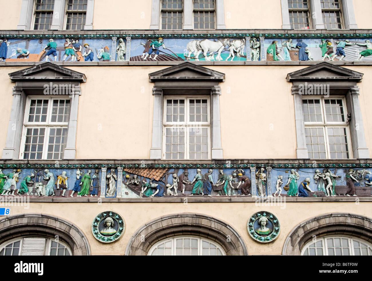 Detail of Sunlight Chambers (1901), Essex Quay, Dublin, Ireland.  The frieze portrays the history of soap manufacture. - Stock Image