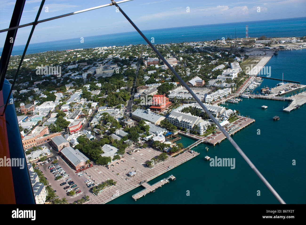 Aerial view of Mallory Square in Key West Florida - Stock Image