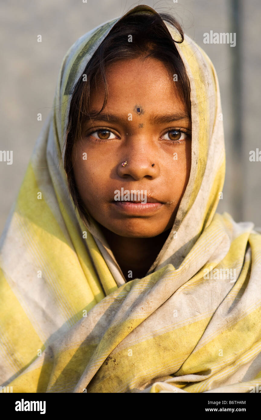 Poor Nomadic Indian Girl Wrapped In A Dirty Sheet Portrait Andhra Pradesh India