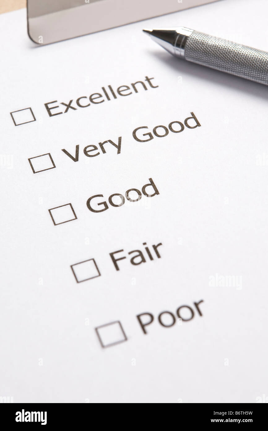 Customer Satisfaction Survey With Pen - Stock Image