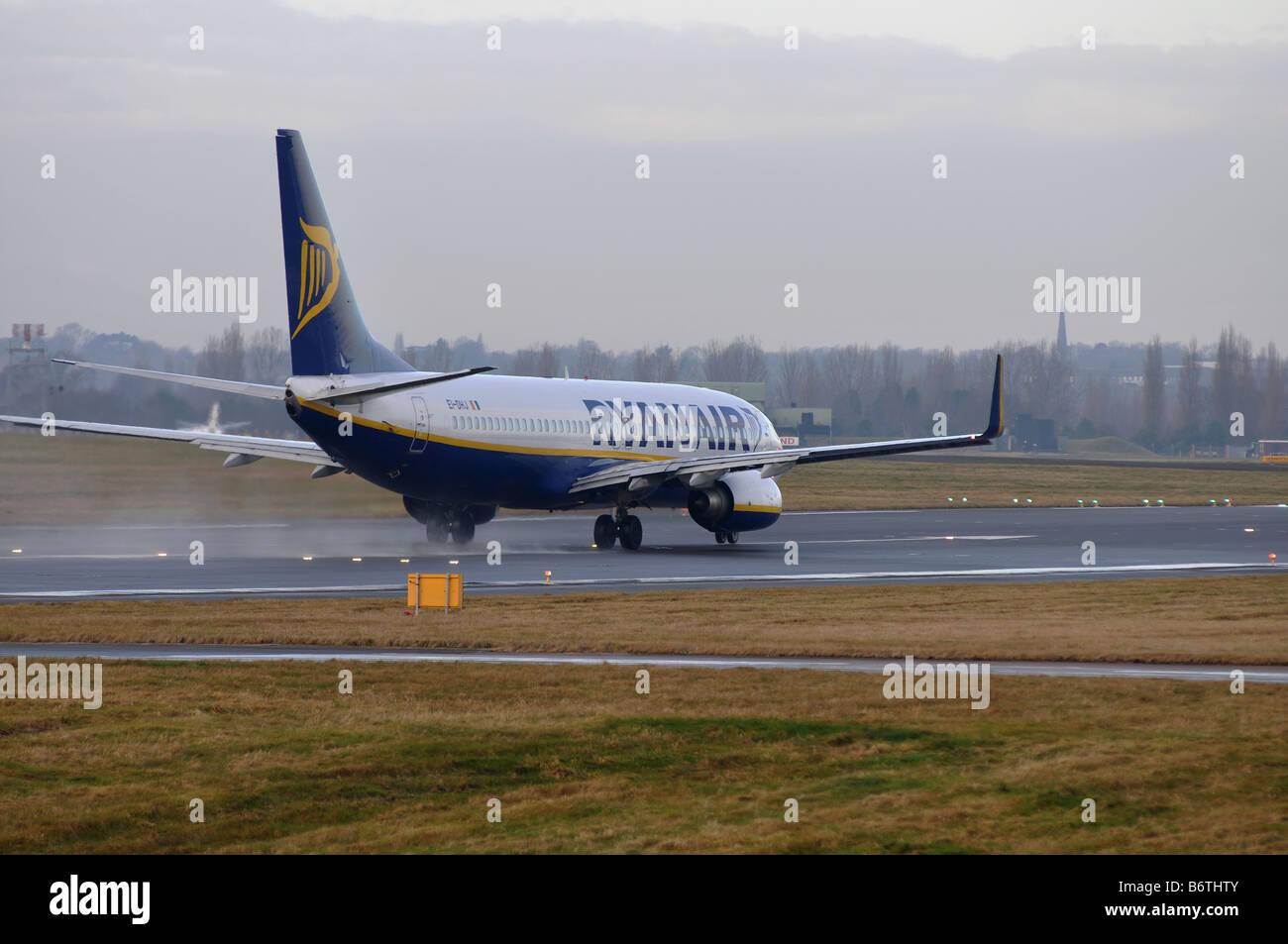 Ryanair Boeing 737 aircraft taking off at Birmingham International Airport, UK Stock Photo