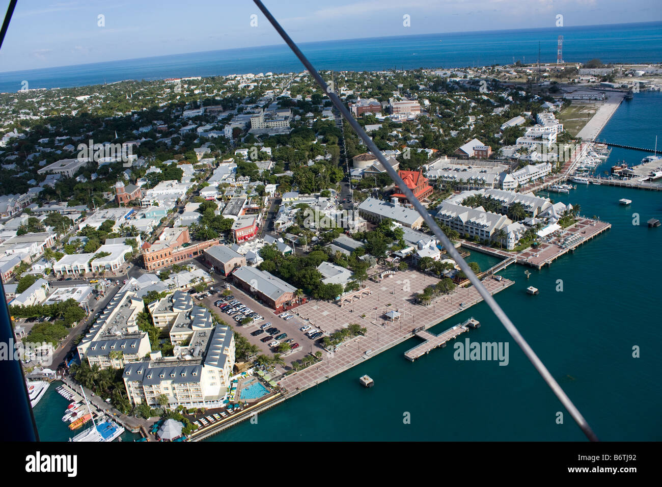 Aerial view of Mallory square and north Duval St in Key West Florida - Stock Image