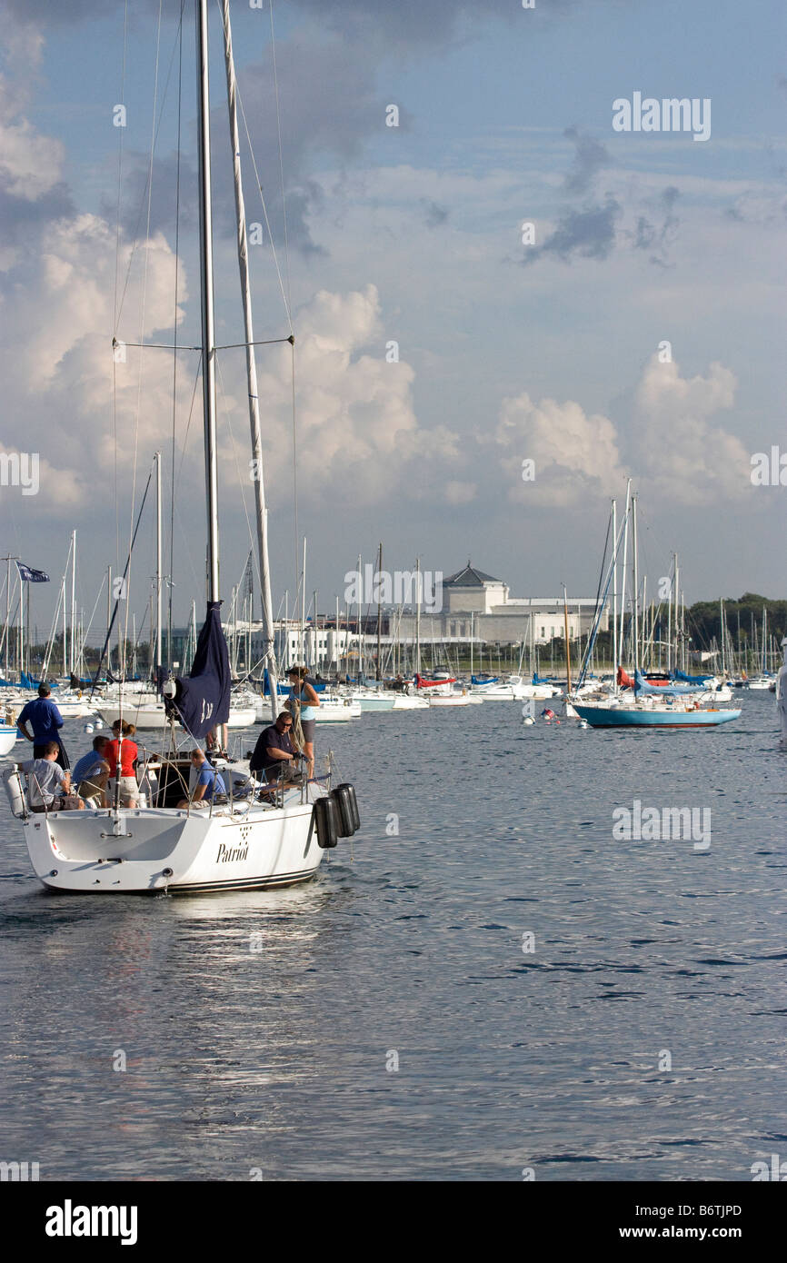 Looking south at Dusable Harbor in Chicago Shedd Aquarium in background - Stock Image