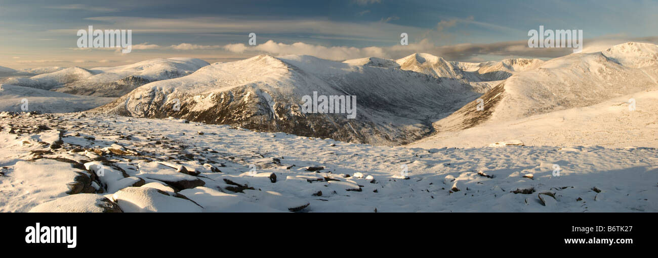 Cairngorm mountain range in Scotland, U.K., viewed from the summit of Carn Crom. - Stock Image
