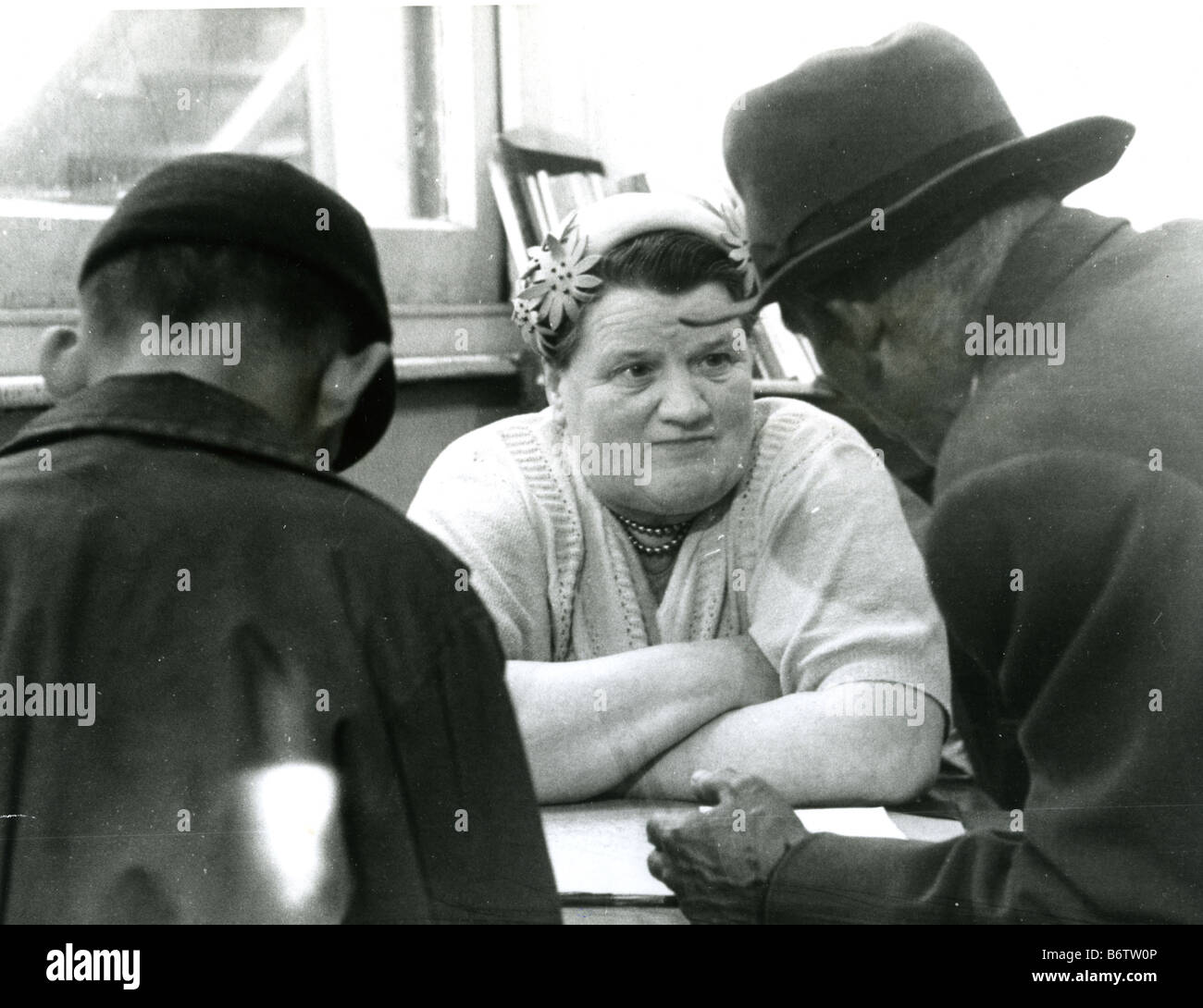 BESSIE BRADDOCK  Labour MP in her constituency office in Liverpool Exchange in 1955 - Stock Image