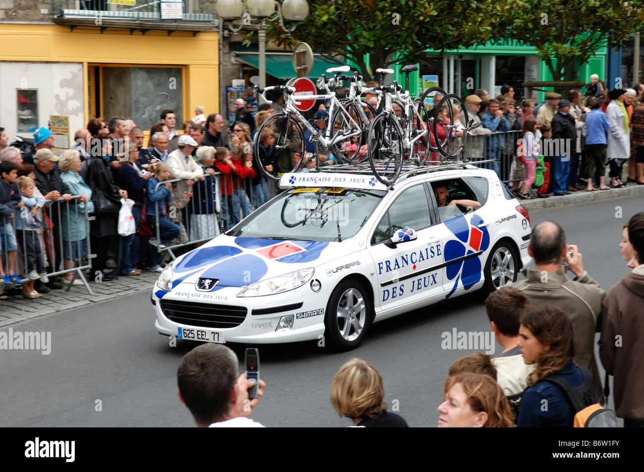 Francaise des Jeux team car on the 3rd stage of the 2008 Tour de France at Dinan in the Cotes d Amour 22 departement - Stock Image