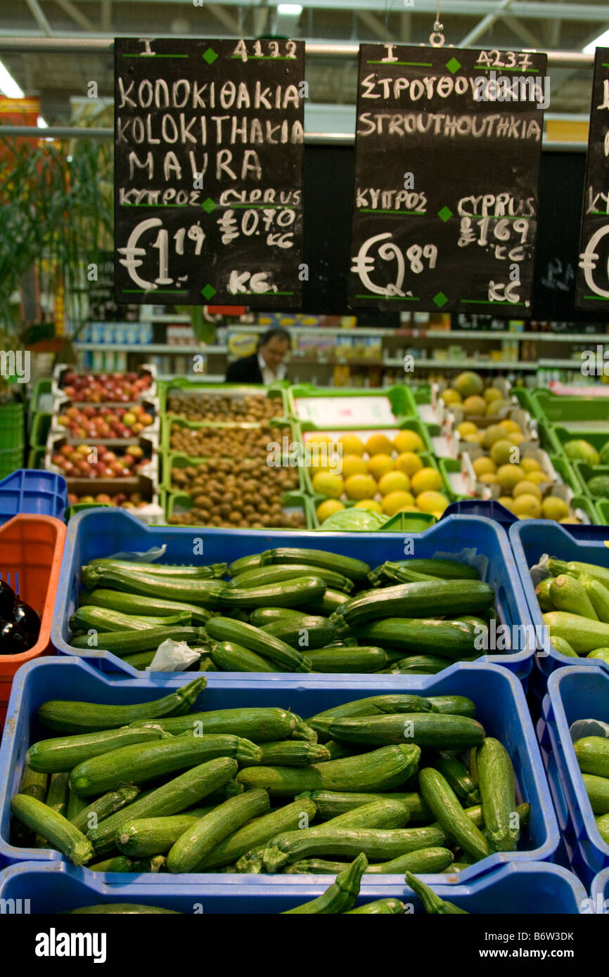 Foreign Supermarkets _Euro pricing of fruit and vegetables in Cyprus Supermarket_Fresh foods produce Aisle, EU Europe. - Stock Image