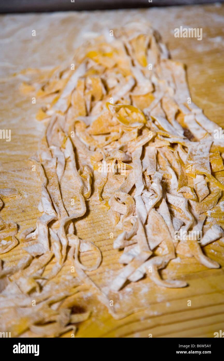 Handmade fettuccine pasta, close-up. - Stock Image