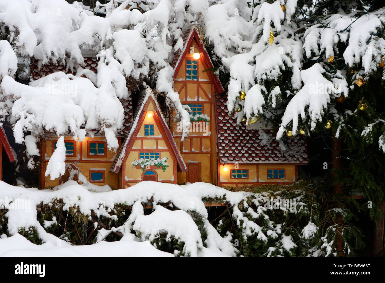 charming gingerbread type houses ,set in real snow ,are part