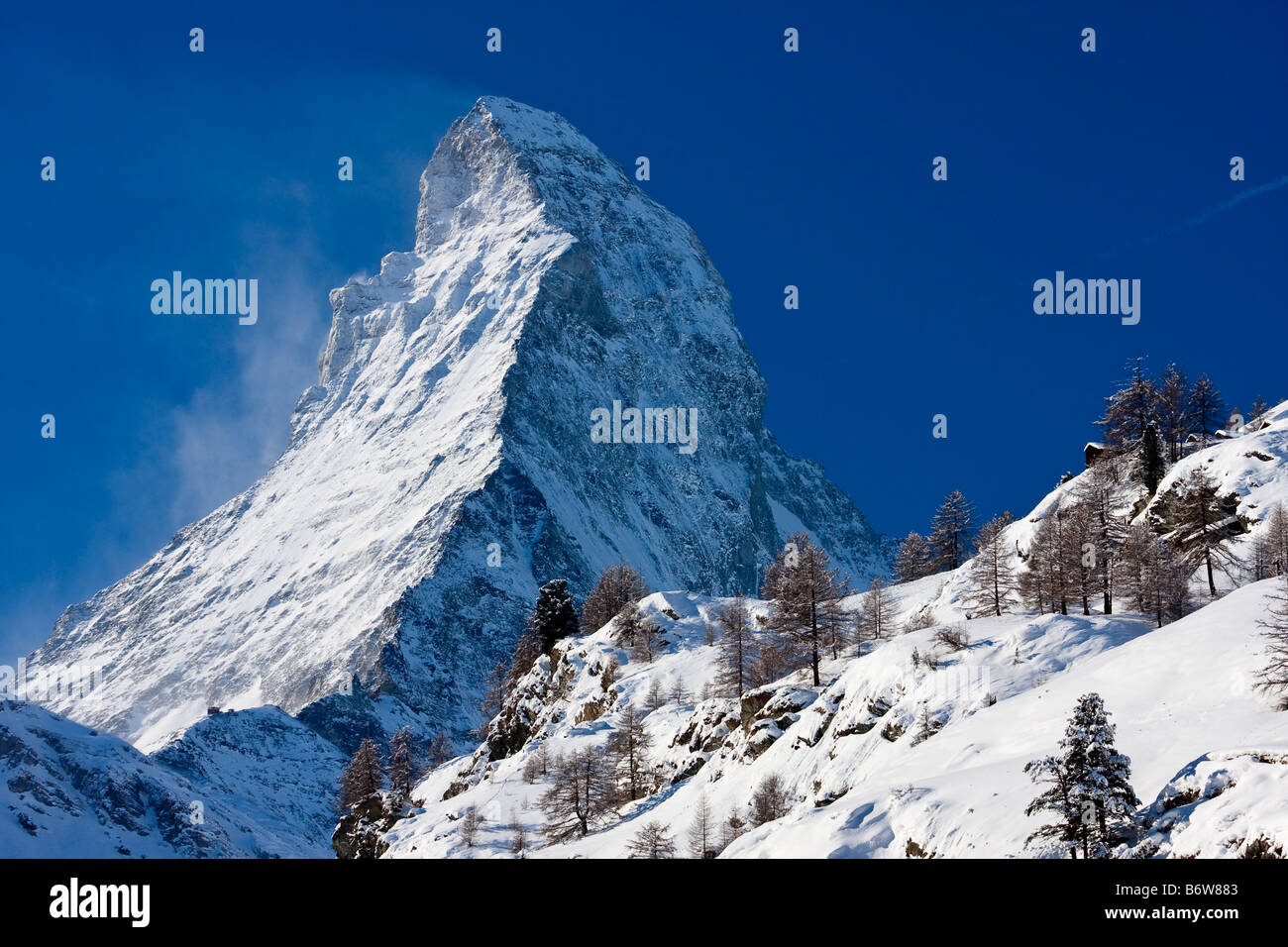 The Matterhorn from Zermatt Switzerland - Stock Image