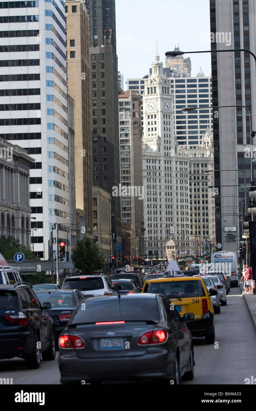 Michigan Ave in Chicago - Stock Image
