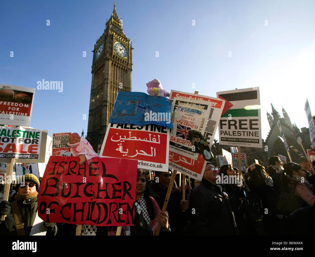 Anti-Israeli Demonstration in London after attacks on Gaza Strip. - Stock Image
