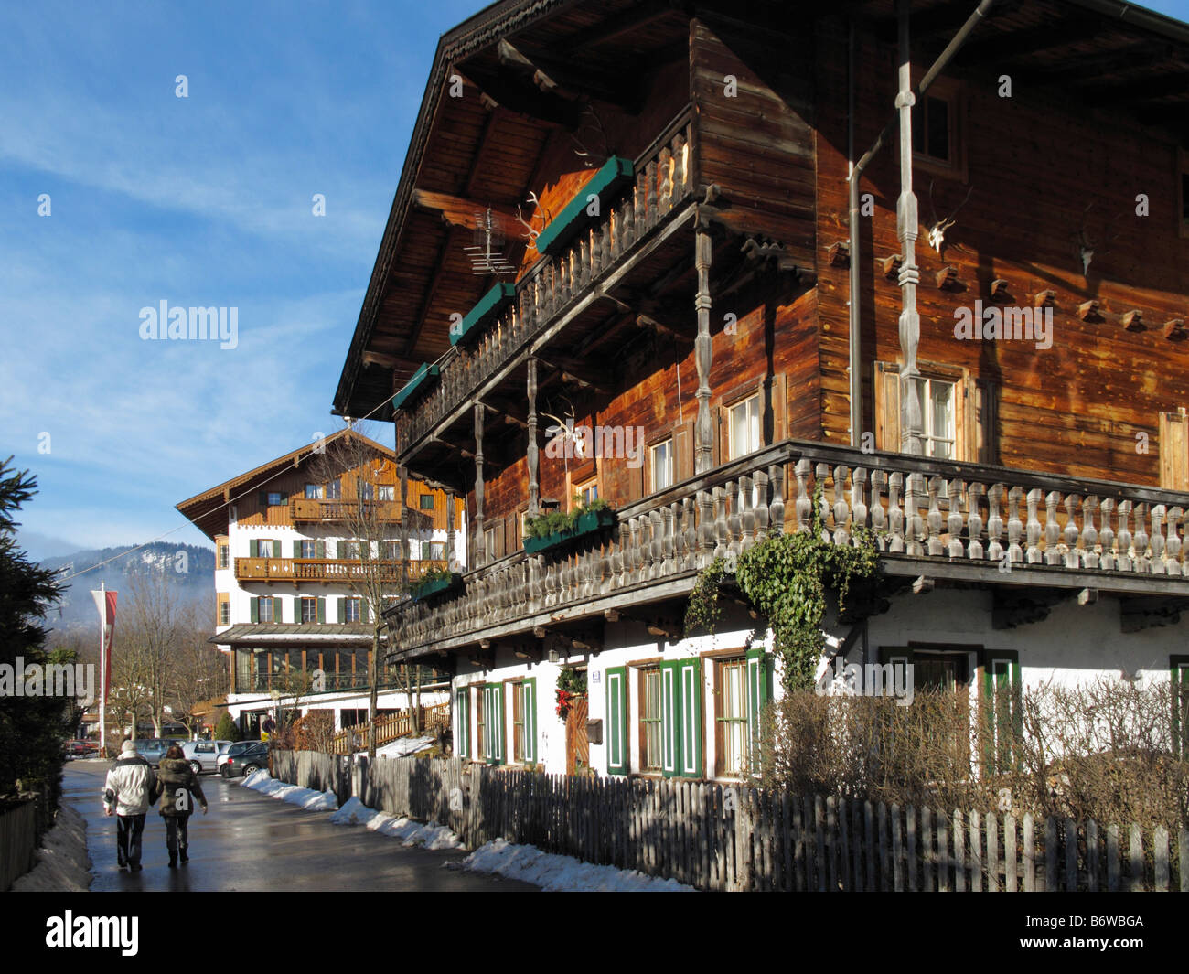 Typical Tyrolean houses in the village of Achenkirch, Lake Achensee, Tyrol, Austria - Stock Image