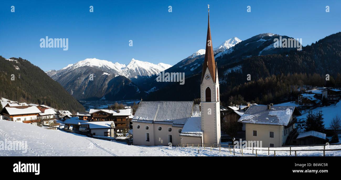 Panorama over Finkenberg looking towards Mayrhofen, Zillertal (Ziller Valley), Tyrol, Austria - Stock Image