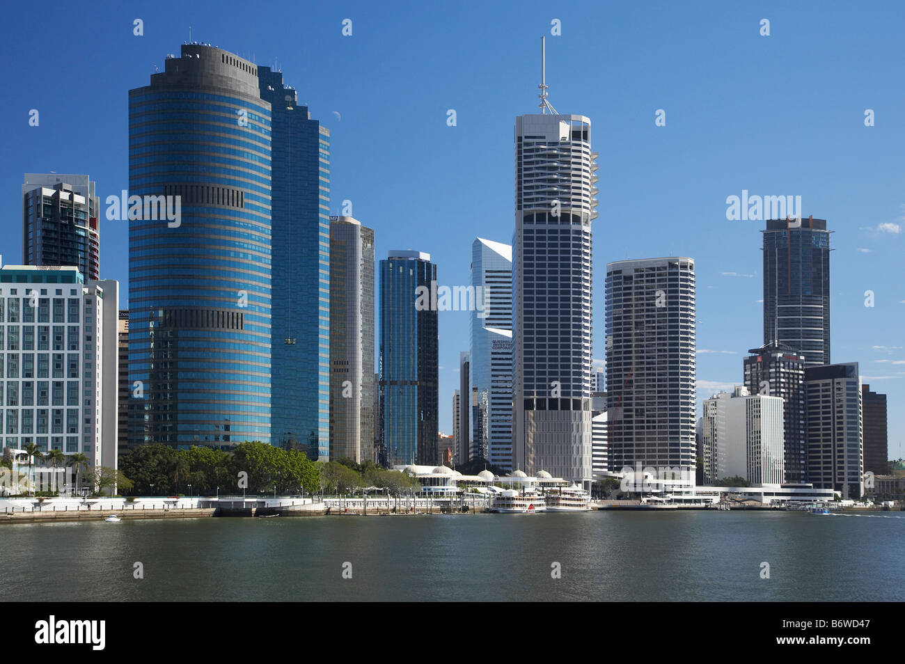 Skyscrapers and Brisbane River Brisbane Queensland Australia - Stock Image