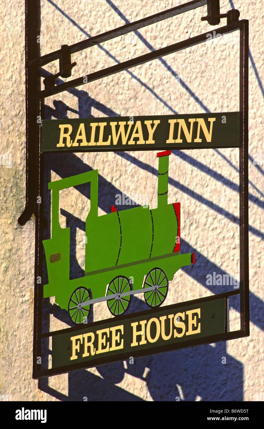 'Railway Inn' pub sign near the Tal-y-Llyn railway station, Abergynolwyn, Gwynedd, Wales, UK. - Stock Image