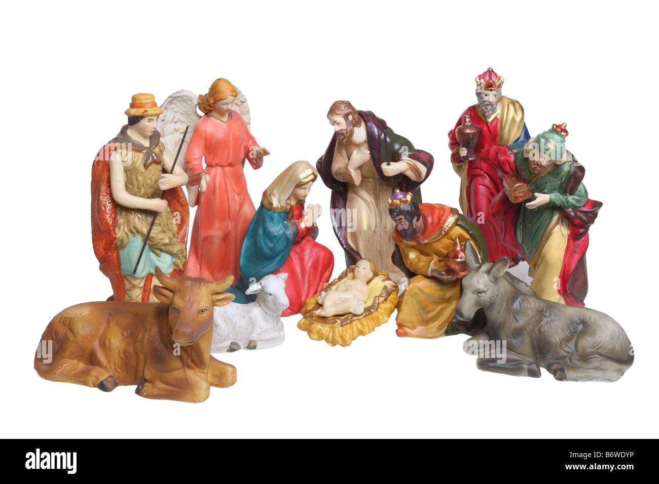 Nativity scene figures cutout isolated on white background - Stock Image
