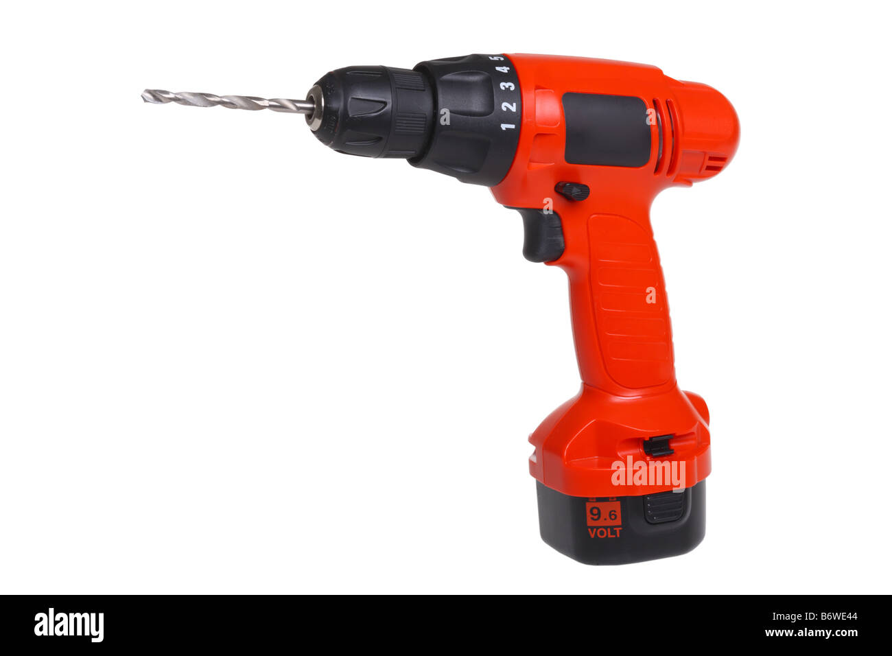 Cordless power drill tool cut out isolated on white background - Stock Image