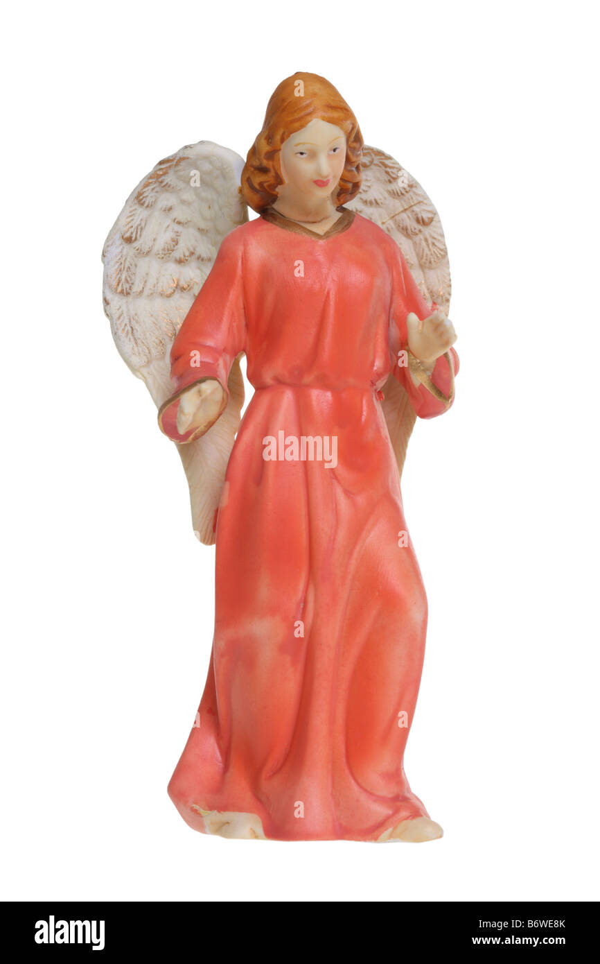 Angel figure cut out isolated on white background - Stock Image