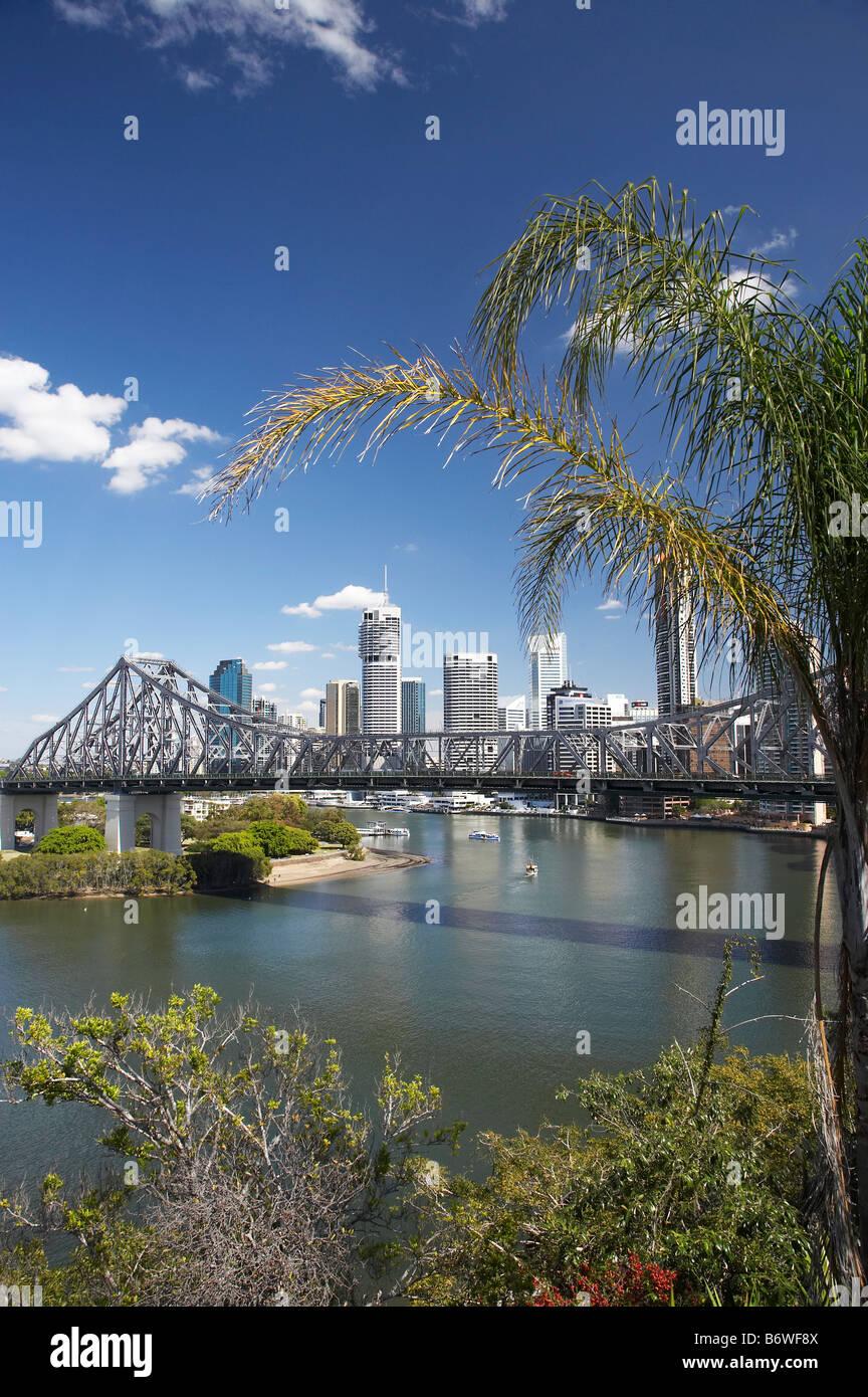 Story Bridge and Brisbane River Brisbane Queensland Australia - Stock Image